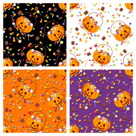 candy corn: Vector set of four colorful seamless patterns with Halloween candies.