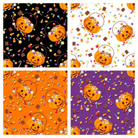 feestelijk: Vector set van vier kleurrijke naadloze patronen met Halloween snoep.