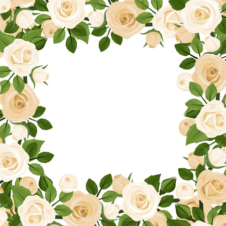frame vector: Vector frame with white roses and green leaves. Illustration