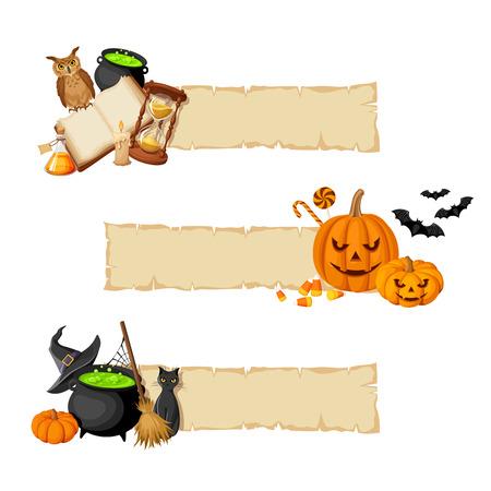 retama: Vector de Halloween banners de magia con el libro, caldero, reloj de arena, búho, jack-o-linternas, palos, gato, escoba, calabaza y sombrero de brujas.
