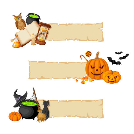 Vector Halloween magic banners with book, cauldron, hourglass, owl, jack-o-lanterns, bats, cat, broom, pumpkin and witches hat. Stock Illustratie