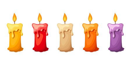 Five vector colorful candles isolated on a white background.