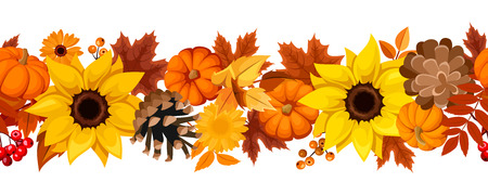 Vector horizontal seamless background with pumpkins, sunflowers, pinecones and colorful autumn leaves.