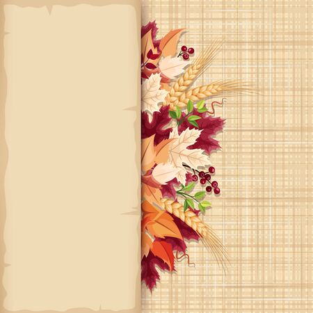 sacking: Vector parchment card with colorful autumn leaves on a beige sacking background.