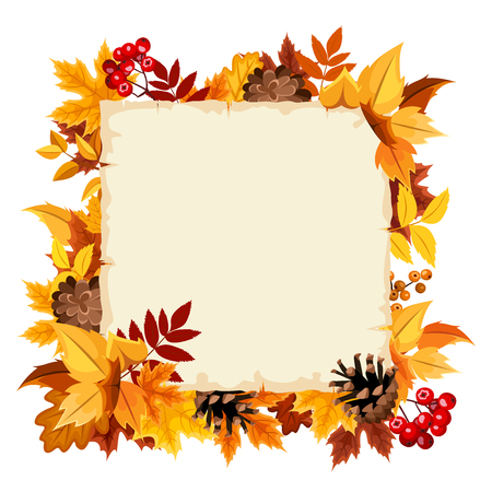 brown background: Vector beige card with colorful autumn leaves.