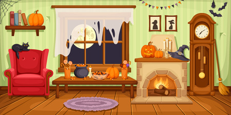 comfortable: Vector illustration of living room with armchair, table, clock and fireplace decorated for Halloween party.