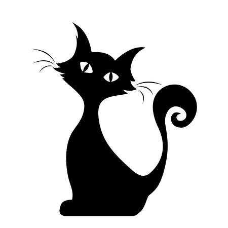 black eyes: Vector black silhouette of a sitting cat. Illustration