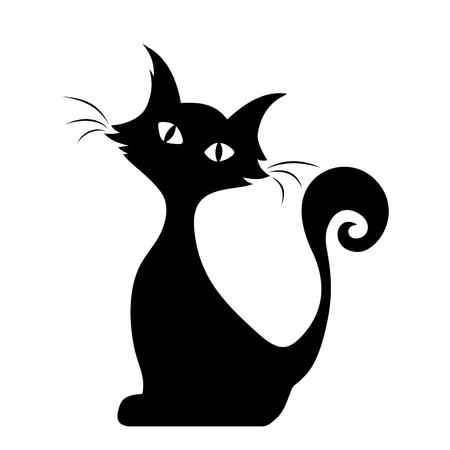 gato dibujo: Vector negro silueta de un gato sentado. Vectores