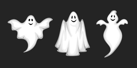 mosca caricatura: Conjunto de tres fantasmas blanco vector aislados sobre un fondo negro.