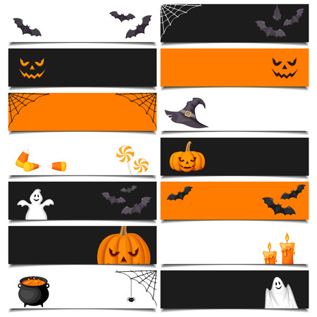 Vector Halloween black, orange and white web banners with jack-o-lanterns, bats, cauldron, nets, ghosts and candies.