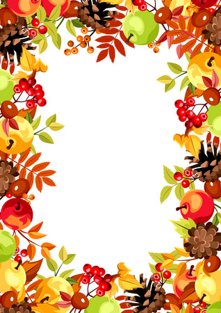 Vector background with colorful autumn leaves, apples, cones, rowanberries and chestnuts.