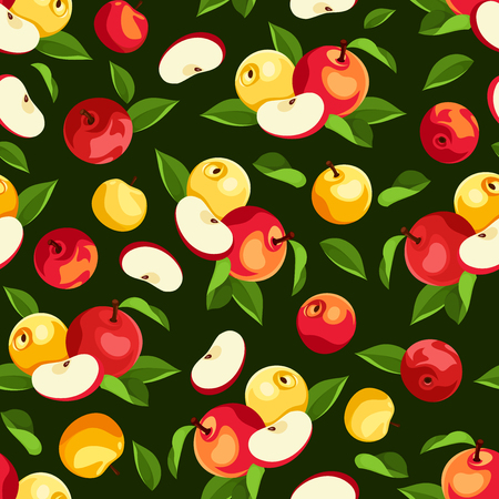 agriculture wallpaper: Vector seamless pattern with red and yellow apples and green leaves on a green background. Illustration