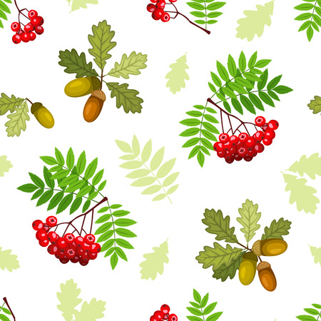 Twigs: Vector seamless pattern with oak and rowan branches, leaves and berries on a white background.
