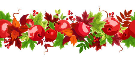leafage: Horizontal seamless background with red apples and colorful autumn leaves on a white background. Illustration