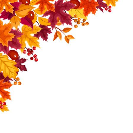 Вектор фон с красный, оранжевый, желтый и фиолетовый осенние листья. Иллюстрация