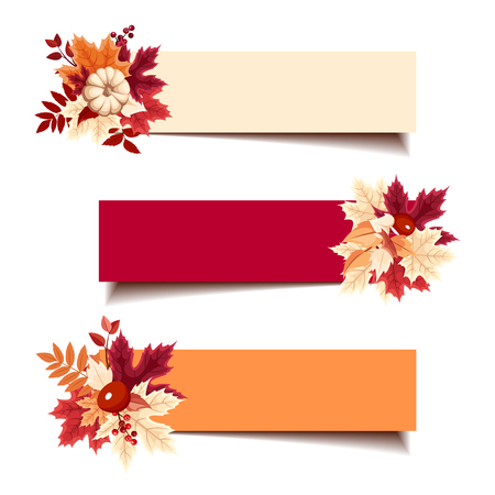 fallen fruit: Set of three vector red, orange and beige banners with autumn leaves. Illustration