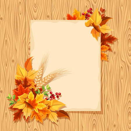 fallen: Vector beige card with colorful autumn leaves on a wooden background.