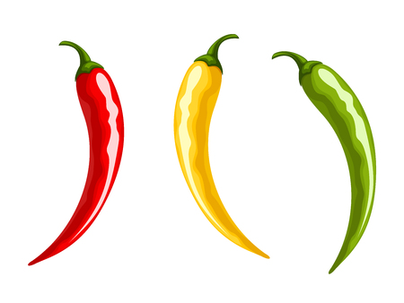 Vector set of red, yellow and green hot chili pepper isolated on a white background.