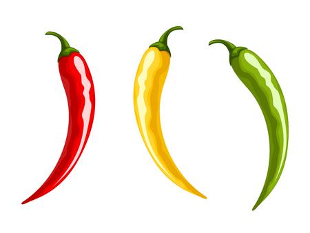벡터 흰색 배경에 고립 된 빨간색, 노란색 및 녹색 핫 칠리 고추의 집합입니다.