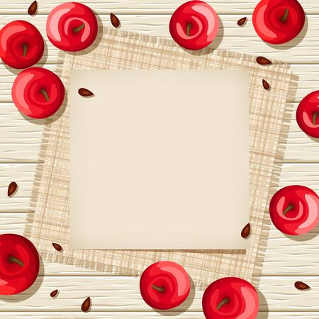 sacking: Vector beige parchment card on a wooden background with red apples, seeds and sacking.