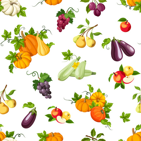 red grape: Vector seamless pattern with various vegetables and fruits on white.