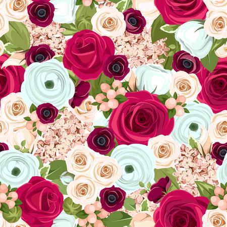 赤、白および青のバラ、lisianthuses、ラナンキュラス、ライラックの花と緑の葉を持つベクターのシームレスな背景。