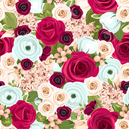 burgundy background: Vector seamless background with red, white and blue roses, lisianthuses, ranunculus and lilac flowers and green leaves. Illustration