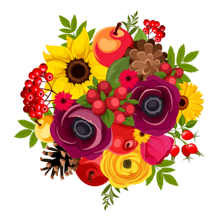 Autumn bouquet with purple, red and yellow flowers, apples, rowan berries, rosehip, cones and leaves. Vector illustration.