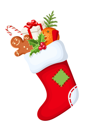 white socks: Vector red Christmas sock with gifts isolated on a white background. Illustration