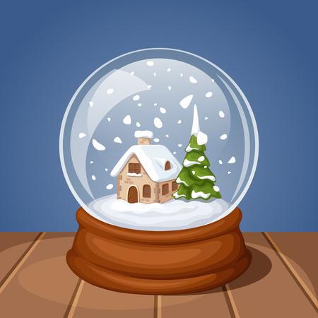 ベクトル モミの木の家とガラスのクリスマスの雪の世界。