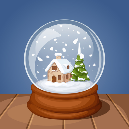 Vector glass Christmas snow globe with house and fir-tree. Stock Illustratie
