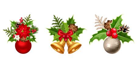 campanas: Conjunto de tres vector decoraciones de Navidad con bolas, poinsettia, abeto, conos, el acebo, el muérdago y aislados en un fondo blanco.