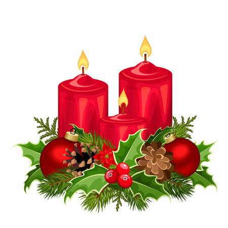 Ilustracja wektorowa trzy czerwone świece świąteczne z gałęzi jodłowych, bale, ostrokrzew, poinsecja i szyszki.