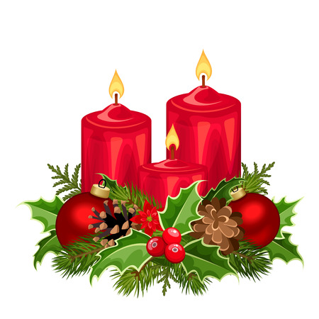 Vector illustration of three red Christmas candles with fir branches, balls, holly, poinsettia and cones.