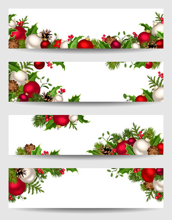 Vector set of Christmas banners with red, white and green fir branches, balls, holly, mistletoe and cones. Иллюстрация