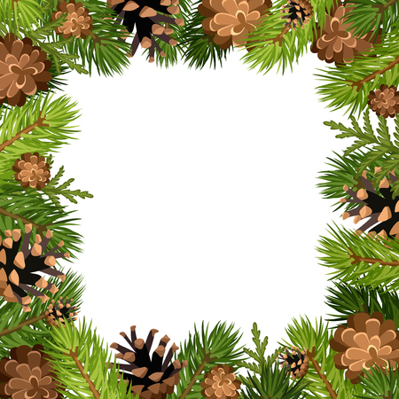 frame vector: Vector frame background with fir tree branches and cones.