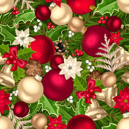 Vector Christmas seamless background with fir-tree branches, balls, bells, cones, poinsettia flowers, holly and mistletoe. Vettoriali