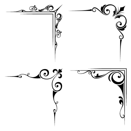 Vector set of four calligraphic decorative black corner elements isolated on a white background.