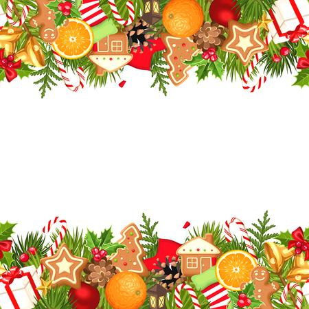 campanas: Vector de fondo sin fisuras horizontales con ramas de abeto, bolas, campanas, galletas de jengibre, bastones de caramelo, conos, calcetines y cajas.