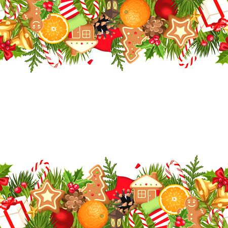 Vector horizontal seamless background with fir branches, balls, bells, gingerbread cookies, candy canes, cones, socks and boxes. Иллюстрация