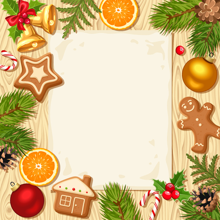 blank banner: Vector Christmas card with fir branches, balls, bells, gingerbread cookies, candy canes, holly, cones and oranges on a wooden background.