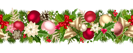 Vector Christmas horizontal seamless garland with green, red, pink and silver fir-tree branches, balls, bells, holly, poinsettia flowers and cones.