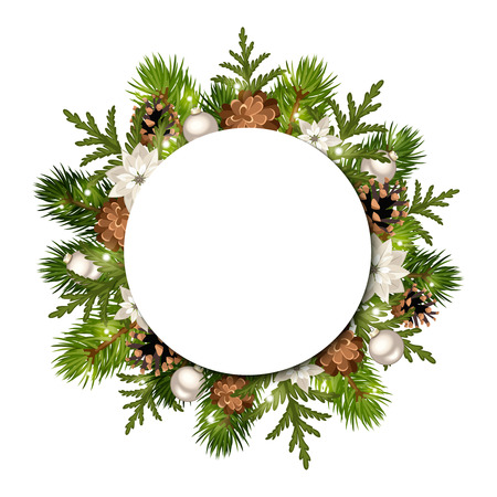 silver circle: Vector Christmas circle background with fir branches, cones, silver balls, poinsettia and lights.