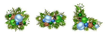 firtree: Set of three vector blue and green Christmas decorations with balls, fir-tree branches, cones, holly and mistletoe isolated on a white background.