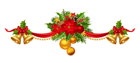 gold leaf: Vector Christmas garland with red, gold and green balls, bells, ribbon, fir branches and holly.