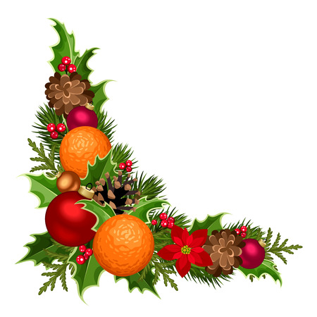 green frame: Vector Christmas decorative corner with fir-tree branches, balls, holly, poinsettia flowers, cones and oranges. Illustration