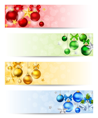 Vector set of four Christmas banners with red, yellow, green and blue balls, stars and sparkles.