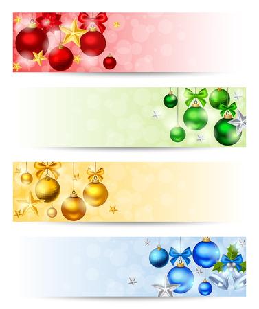 Wektor zestaw czterech banerów Bożego Narodzenia z czerwonym, żółtym, zielonym i niebieskim kule, gwiazdy i gwiazdki. Ilustracje wektorowe