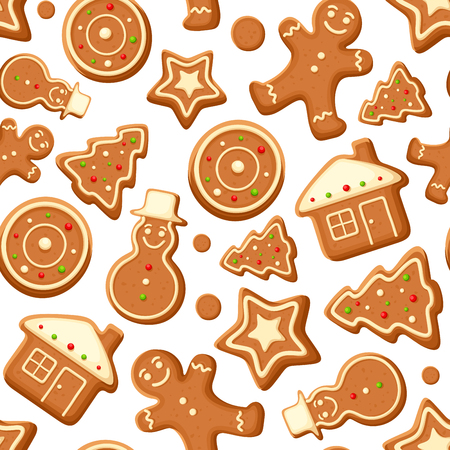 ornaments vector: Vector seamless background with Christmas gingerbread cookies on white.