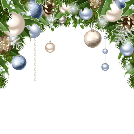 silver balls: Vector Christmas background with blue and silver balls, cones, fir branches, holly and mistletoe.